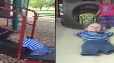 હાથ-પગ વગરનો આ બાળક રમી રહ્યો છે લપસણી પર, વીડિયો વાયરલ