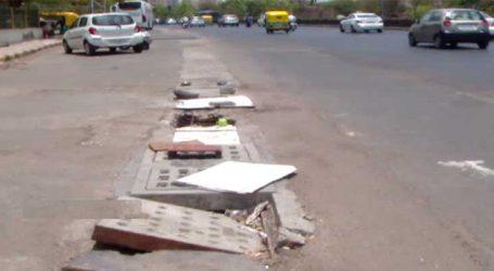 અમદાવાદ: રસ્તા પર ડ્રેનેજને લઇને પણ તંત્રની કામગીરી ઢંગ વગરની