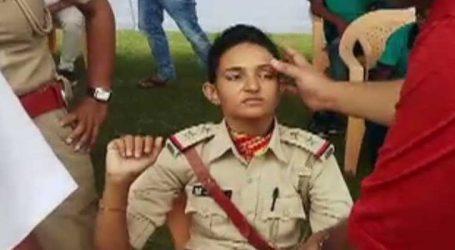 વડોદરાઃ નીતિન પટેલના ઉદ્દબોધન દરમિયાન મહિલા પોલીસ અધિકારીને આવ્યા ચક્કર