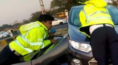 VIDEO: આ શખ્સે ટ્રાફિક પોલીસ પર ચડાવી દીધી કાર, જીવ બચાવવા જુઓ શું કર્યું